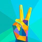 stock photo of victory  - Victory hand geometrical style modern silhouette on isolated background vector - JPG