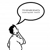 stock photo of thinking  - Thinking person with thought bubble on white background - JPG