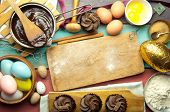 pic of ingredient  - Kitchen setting with easter baking ingredients including hot chocolate eggs and flour - JPG