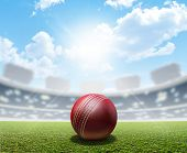foto of cricket ball  - A cricket stadium with a red leather cricket ball on an unmarked green grass pitch in the daytime under a blue sky - JPG