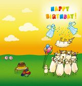 image of lamb  - Greeting card Happy Birthday with a pop - JPG
