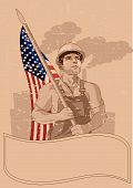 image of strongman  - Worker holding American flag - JPG