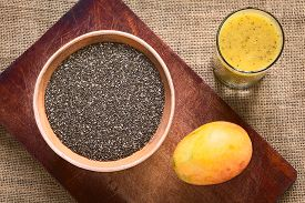 stock photo of fruit shake  - Overhead shot of chia seeds  - JPG