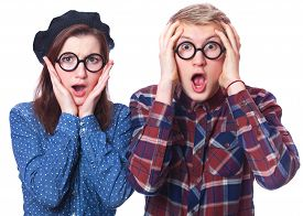 picture of nerds  - Nerd teen couple in glasses on white background - JPG