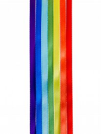 picture of gay pride  - rainbow ribbons gay LGBT sign is isolated on white background gay culture symbol - JPG