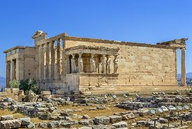 picture of poseidon  - The Erechtheion is an ancient Greek temple on the north side of the Acropolis of Athens in Greece which was dedicated to both Athena and Poseidon - JPG