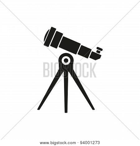 The Telescope Icon. Spyglass Symbol. Flat