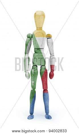 Wood Figure Mannequin With Flag Bodypaint - Comoros