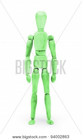 Wood Figure Mannequin With Bodypaint - Green