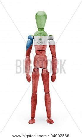 Wood Figure Mannequin With Flag Bodypaint - Equatorial Guinea