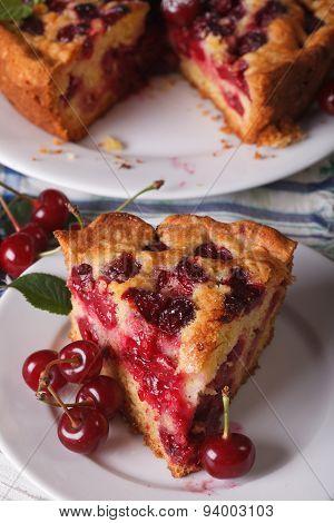 Piece Of Homemade Cherry Pie On A Plate Closeup, Vertical