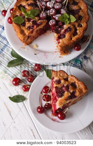 Sliced Homemade Cake With Cherries Closeup. Vertical Top View