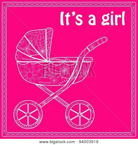 Its a girl card with baby carriage