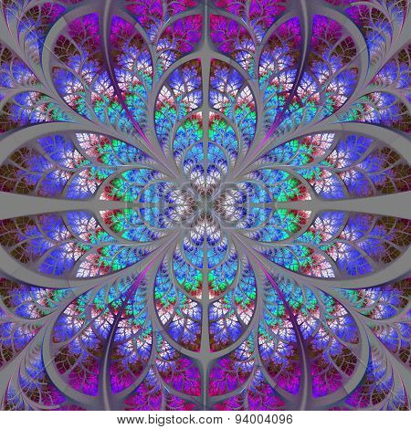 Symmetrical Fractal Pattern. Collection - Tree Foliage. Darkblue, Blue And Purple Palette
