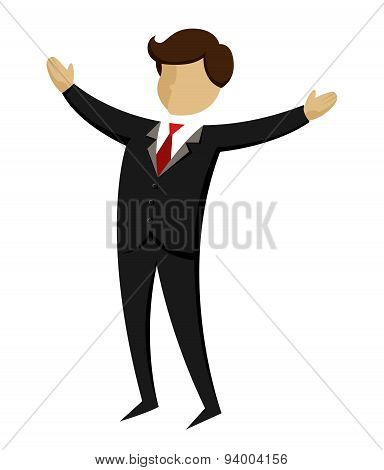 Businessman With Hands Wide Open