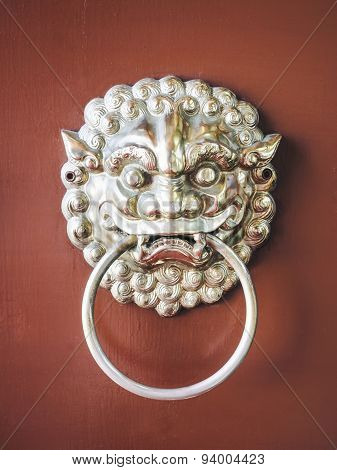 Lion Door Knocker Chinese Gate details