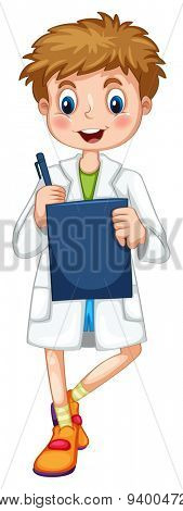 Boy in lab gown recording data