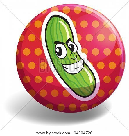 Cucumber with face on round badge