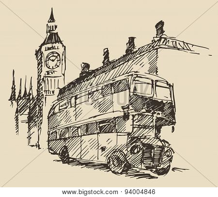 Street London England Bus Big Ben Vintage Sketch