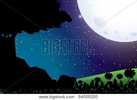 Silhouette scene of nature on full moon night