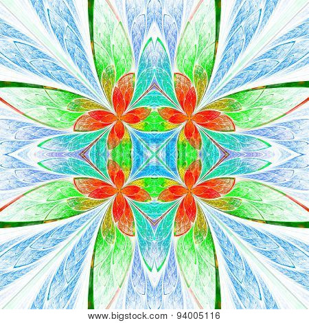 Symmetrical Flower Pattern In Stained-glass Window Style On Light. Green, Blue And  Red Palette.