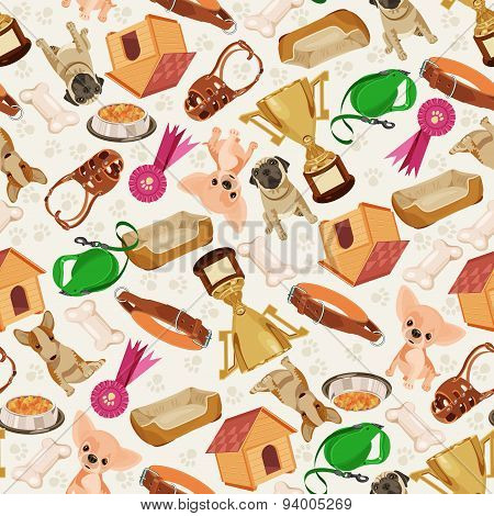 Cute funny seamless pattern with dogs and things for pets.