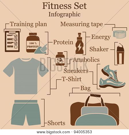 Fitness Set  Infographics