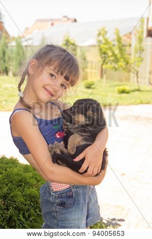 Young Girl, Brunette, Playing With Puppies German Shepherd On A Lawn In The Summer