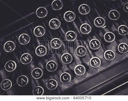 Vintage Typewriter Close Up On Letter Button