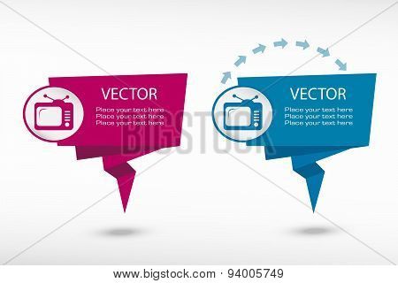 Televise On Origami Paper Speech Bubble Or Web Banner, Prints