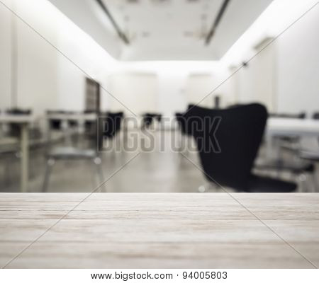 Table Top With Blurred Office Working Space Interior Background