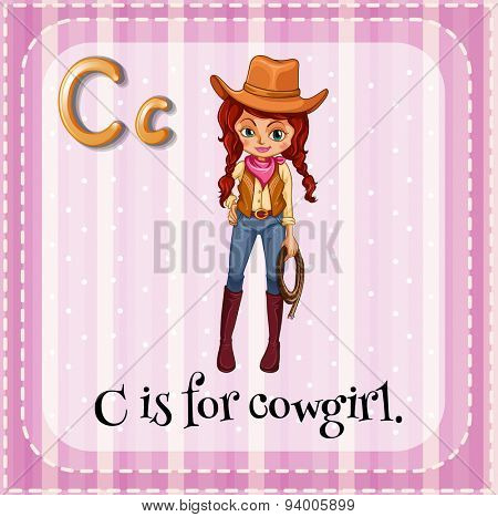 Flashcard letter C is for cowgirl