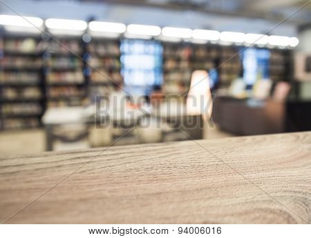 Table Top With Blurred Book Store Background