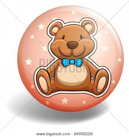 Teddy bear on round badge
