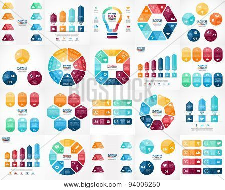 Vector circle infographics. Business diagrams, arrows graphs, presentations, idea cycle charts. Data options, parts, 3, 4, 5, 6, 7, 8 steps. Bulb, brain, plus, labels, stickers, lines, stairs, medical plus.