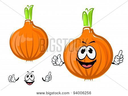 Cartoon isolated golden onion character