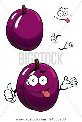 Cartoon purple plum fruit with thumb up
