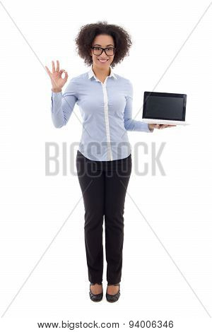 Beautiful African American Business Woman Holding Laptop With Empty Screen Isolated On White