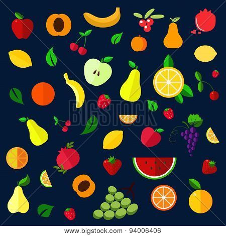 Fruits and berries flat icons