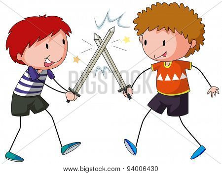 Two boys playing sword fight