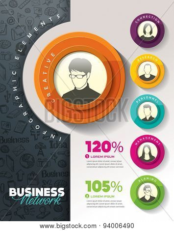 Brainstorming with group of people and Infographic elements