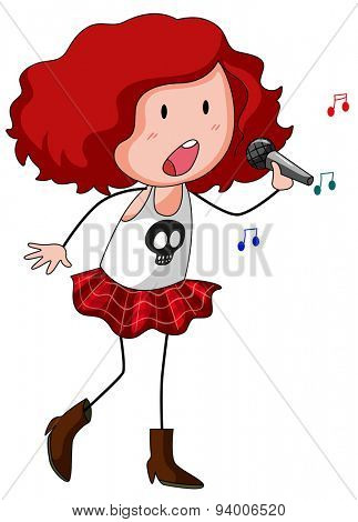 Cute girl with microphone singing a song