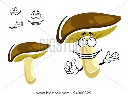 Fresh shiitake mushroom cartoon character