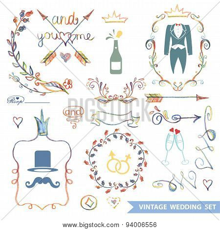 Cute vintage floral set with doodle decor,wedding icons