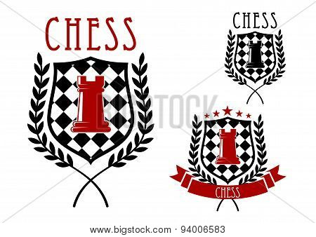 Chess emblems with rook on chessboard shield