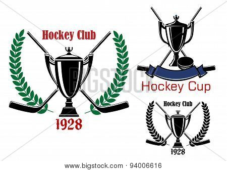 Ice hockey cup and club emblems