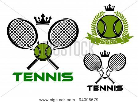 Tennis emblems with balls, rackets and crowns