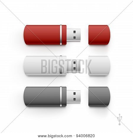 USB Flash Drive Stick Memory Vector Set Isolated