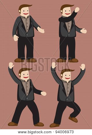 Cartoon Man Character Happy And Excitement Gestures