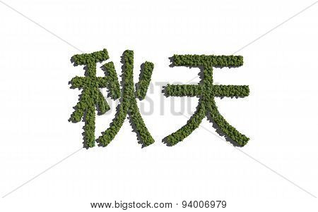 Autumn Chinese Text Tree With White Background